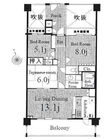 間取図/区画図:約8メートルのワイドスパンバルコニーは開放感有ります。約7.23平米のポーチは便利です。