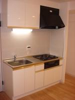 キッチン:三口ガスコンロ、グリル付、シングルレバー水栓、キッチン壁面はピンコロタイル貼のシステムキッチン