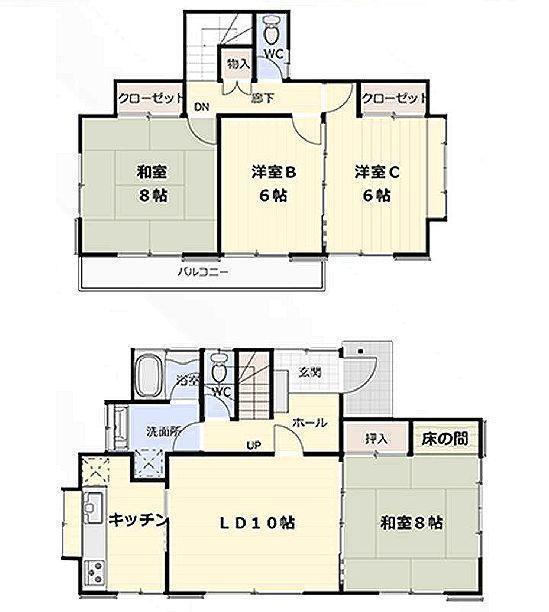 間取図/区画図:2階建4LDKの間取り
